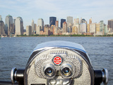Coin Operated Binoculars Pointed at Manhattan Skyline, Hudson River, Jersey City, New Jersey, Usa Photographic Print by Paul Souders