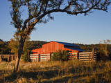 Red Barn at Sunrise on the Block Creek Natural Area, Kendall Co., Texas, Usa Photographic Print by Larry Ditto