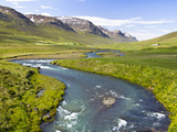 Scenic Landscape of River and Mountains in Svarfadardalur Valley in Northern Iceland Photographic Print by Joan Loeken