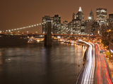 Brooklyn Bridge and Parkway, East River with Lower Manhattan Skyline, Brooklyn, New York, Usa Photographic Print by Paul Souders