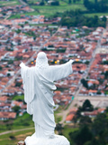Town of Villa De Leyva with a Statue of Jesus Christ at the Summit, Cartagena, Colombia Photographic Print by Micah Wright