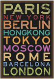 Cities of the World Colorful RetroMetro Travel Poster Posters