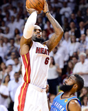 Miami, FL - June 21:  Miami Heat and Oklahoma City Thunder Game Five, LeBron James and James Harden Photo by Ronald Martinez