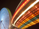 Boardwalk Amusement Park Lights at Night at Funtown Pier, Seaside Park, New Jersey, Usa Photographic Print by Paul Souders
