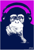 Steez Headphone Chimp - Purple Art Poster Print Plakat af Steez
