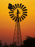 Windmill at Sunset, Fitzroy Crossing, Kimberley Region, Western Australia, Australia Photographic Print by David Wall