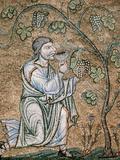 Byzantine Art, Noah Drinking Wine Mosaic, Baptistery of St. Mark's Basilica, Venice, Italy Photographic Print by  Prisma