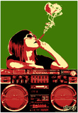 Steez Boom Box Joint - Red/Green Art Poster Print Posters