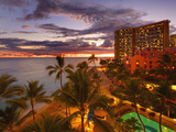 Twilight, Waikiki, Oahu, Hawaii, Usa Photographic Print by Douglas Peebles