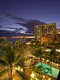 Sunset, Waikiki Beach, Honolulu, Oahu, Hawaii, Usa Photographic Print by Douglas Peebles