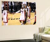 Miami, FL - June 21:  Miami Heat and Oklahoma City Thunder Game Five, LeBron James and Dwyane Wade Wall Mural by Joe Murphy
