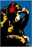 Steez Monkey Thinker - Red Headphones Art Poster Print Posters