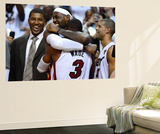 Miami, FL - June 21:  Miami Heat and Oklahoma City Thunder Game Five, LeBron James and Dwyane Wade Wall Mural by Ronald Martinez