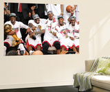 Miami, FL - June 21:  Miami Heat and Oklahoma City Thunder Game Five, Dwyane Wade, LeBron James, Ch Wall Mural by Joe Murphy