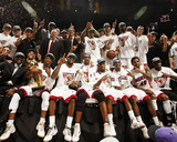 Miami, FL - June 21:  The Miami Heat pose for a team photo after defeating the Oklahoma City Thunde Photo by Issac Baldizon