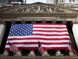 American Flag, New York Stock Exchange Building, Lower Manhattan, New York City, New York, Usa Photographic Print by Paul Souders