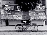 Bike Parked in Front of Fruit Stand, Lombardia, Milan, Italy Photographic Print by Walter Bibikow