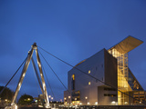 New Connecticut Science Center Building and Pedestrian Bridge at Dusk, Hartford, Connecticut, Usa Photographic Print by Paul Souders