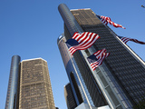 American Flags, General Motors Corporate Headquarters, Renaissance Center, Detroit, Michigan, Usa Photographic Print by Paul Souders