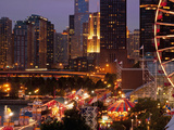 Chicago Navy Pier and Skyline at Night, Chicago, Illinois, Usa Photographic Print by Alan Klehr