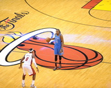 Miami, FL - June 21:  Miami Heat and Oklahoma City Thunder Game Five, Kevin Durant and LeBron James Photographic Print by Noah Graham