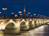 Eglise St-Michel, Garonne River, Pont De Pierre Bridge, Bordeaux, Aquitaine Region, France Photographic Print by Walter Bibikow