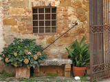 Window and Ancient Stone Wall, Pienza, Tuscany, Italy Photographic Print by Adam Jones