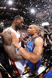 Miami, FL - June 21:  Miami Heat and Oklahoma City Thunder Game Five, Derek Fisher and LeBron James Photographic Print by Andrew Bernstein
