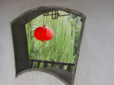 Window and Red Lantern in the Long Corridor Along the Grand Canal, Xitang, Zhejiang, China Photographic Print by Keren Su
