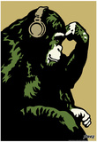 Steez Monkey Thinker - Gold Art Poster Print Posters