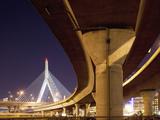 Concrete Highway Overpass and Leonard P. Zakim Bunker Hill Bridge, Boston, Massachusetts, Usa Photographic Print by Paul Souders