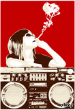 Steez Boombox Joint - Red Art Poster Print Posters