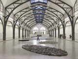 Berlin Circle by Richard Long with Ellipse of Stones, Hamburger Bahnhof Museum, Berlin, Germany Photographic Print by Michele Molinari
