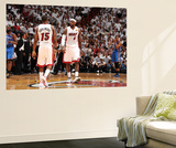 Miami, FL - June 21:  Miami Heat and Oklahoma City Thunder Game Five, LeBron James and Mario Chalme Posters by Andrew Bernstein