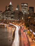 View of Parkway, East River with Lower Manhattan Skyline in Distance, Brooklyn, New York, Usa Photographic Print by Paul Souders
