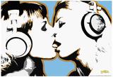 Steez Girls Kissing Art Poster Print - Resim