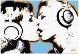 Steez Girls Kissing Art Poster Print Planscher