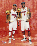 LeBron James & Dwyane Wade with the 2012 NBA Finals & MVP Trophies Photo