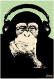 Steez Headphone Chimp - Green Art Poster Print Billeder af  Steez