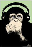 Steez Headphone Chimp - Green Art Poster Print Posters by  Steez