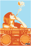 Steez Boom Box Joint - Orange Art Poster Print Posters