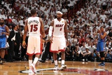 Miami, FL - June 21:  Miami Heat and Oklahoma City Thunder Game Five, LeBron James and Mario Chalme Photographic Print by Andrew Bernstein