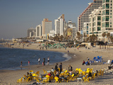 Beachfront Hotels in Late Afternoon, Tel Aviv, Israel Photographic Print by Walter Bibikow