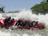 Whitewater Rafters Paddles over Bujagali Falls on Nile River, Lake Victoria, Jinja, Uganda Photographic Print by Paul Souders