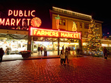 Pike Place Market, Christmas at the Pike Place Market in Seattle, Seattle, Washington, Usa Photographic Print by Richard Duval
