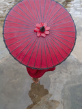 Novice Monk Holding Alms Woks with Red Umbrella, Bagan, Myanmar Photographic Print by Keren Su