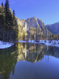 Yosemite Falls Reflected in Merced River, Yosemite National Park, California, Usa Photographic Print by Jamie &amp; Judy Wild