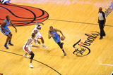 Miami, FL - June 21:  Miami Heat and Oklahoma City Thunder Game Five, Kevin Durant, Chris Bosh and  Photographic Print by Noah Graham