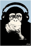 Steez Headphone Chimp - Blue Art Poster Print Poster von  Steez