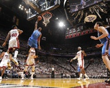 Miami, FL - June 21:  Miami Heat and Oklahoma City Thunder Game Five, Kevin Durant and Udonis Hasle Photographic Print by Andrew Bernstein